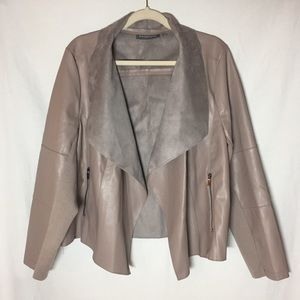 Bagatelle Faux Leather Tan Waterfall Front Jacket